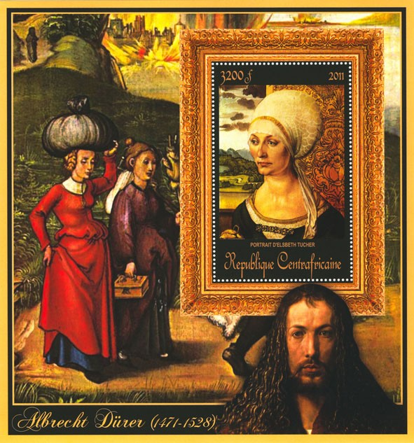 Special Block of Paintings of Albrecht Durer,  (Portrait de d Elisbeth Tucher). - Issue of Central African republic postage stamps