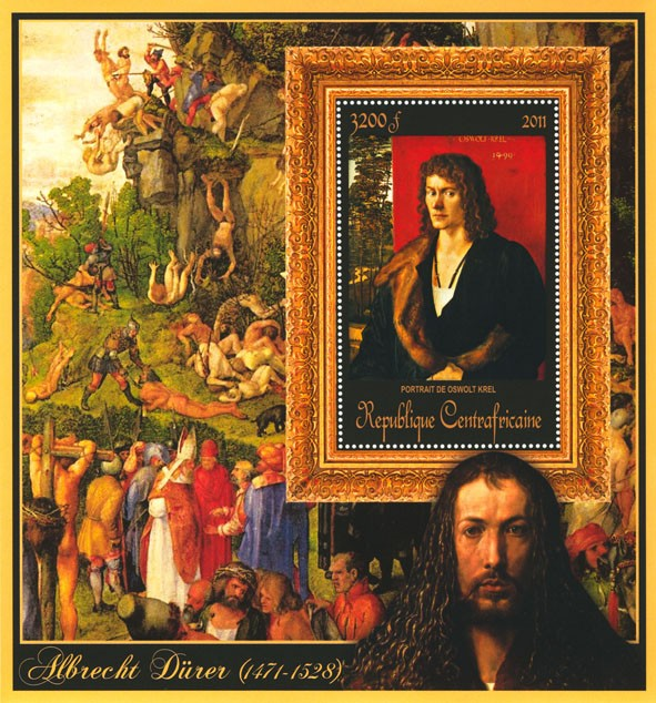 Special Block of Paintings of Albrecht Durer ,  (Portrait de Oswolt Krel). - Issue of Central African republic postage stamps