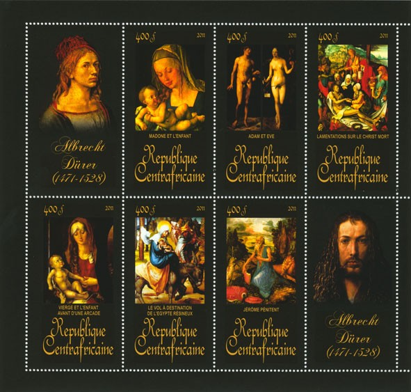 Paintings of Albrecht Durer, (1471-1528). (Madone et l enfant, Jerome Penitent). - Issue of Central African republic postage stamps