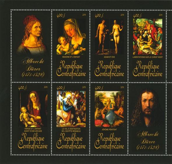 Paintings of Albrecht Durer, (1471-1528). (Madone et l enfant, Jerome Penitent). - Issue of Central African republic postage stamps