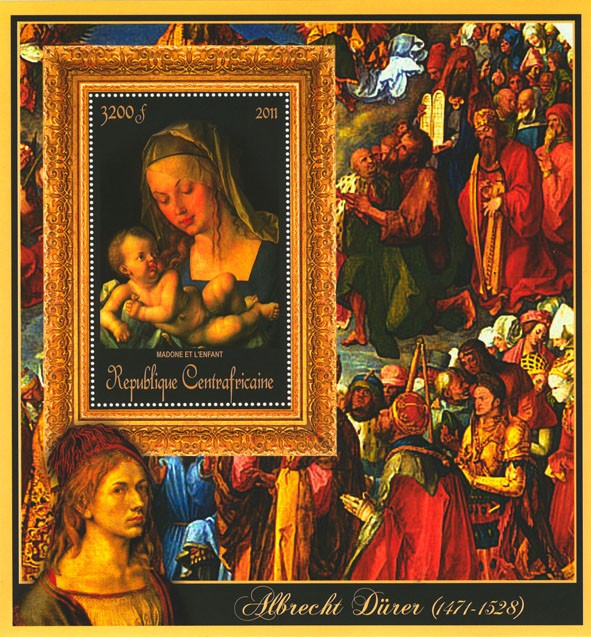 Special Block of Paintings of Albrecht Durer, (Madone et l enfant). - Issue of Central African republic postage stamps