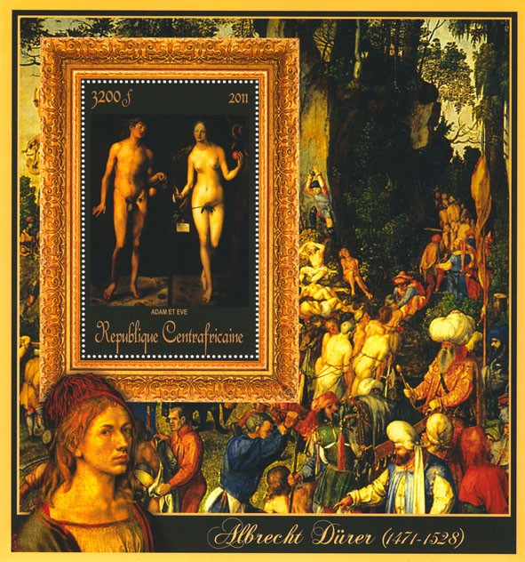 Special Block of Paintings of Albrecht Durer, (Adam et Eve). - Issue of Central African republic postage stamps