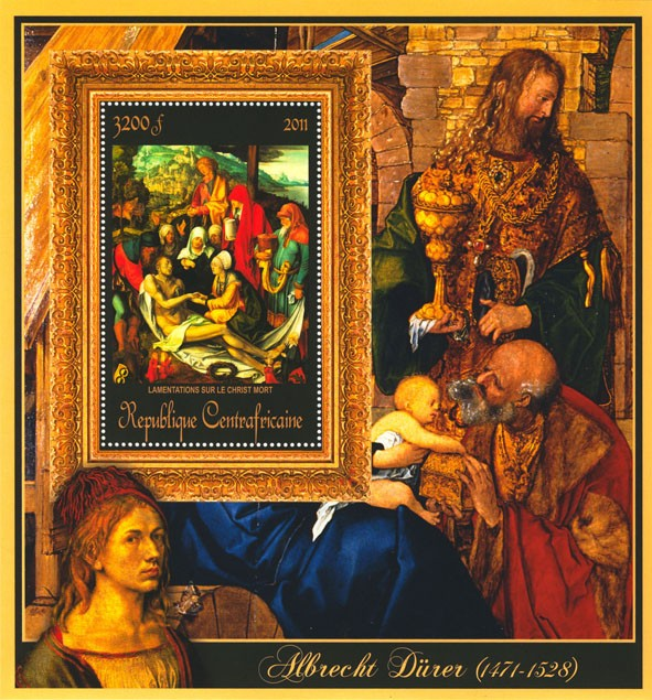 Special Block of Paintings of Albrecht Durer,  (Lamentation sur le Christ Mort). - Issue of Central African republic postage stamps