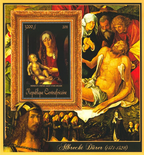 Special Block of Paintings of Albrecht Durer,  (Vierge et l enfant d une arcade). - Issue of Central African republic postage stamps