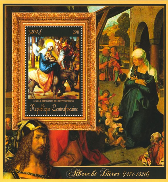 Special Block of Paintings of Albrecht Durer, (Le vol a destination). - Issue of Central African republic postage stamps