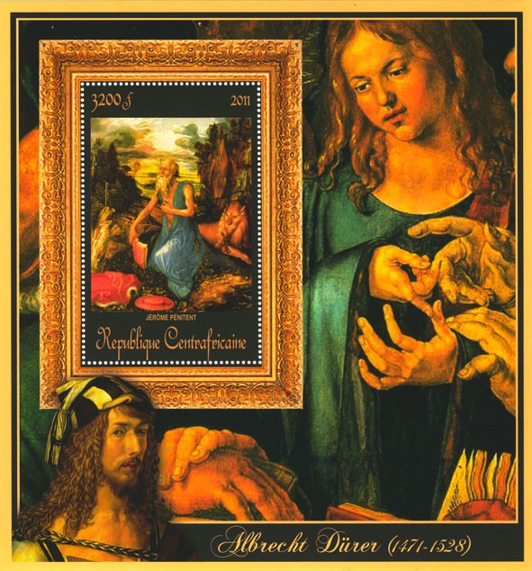 Special Block of Paintings of Albrecht Durer, (Jerome Penitent). - Issue of Central African republic postage stamps