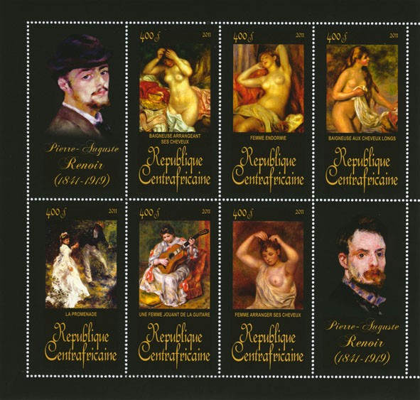 Paintings of Pierre-Auguste Renoir, (1841-1919). (Baigneuse arrangeant ses  cheveux, Femme arrangeant ses  cheveux). - Issue of Central African republic postage stamps