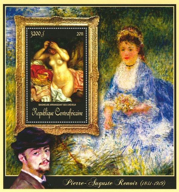 Special Block of Paintings of Pierre-Auguste Renoir ,  (Baigneuse arrangeant ses  cheveux). - Issue of Central African republic postage stamps