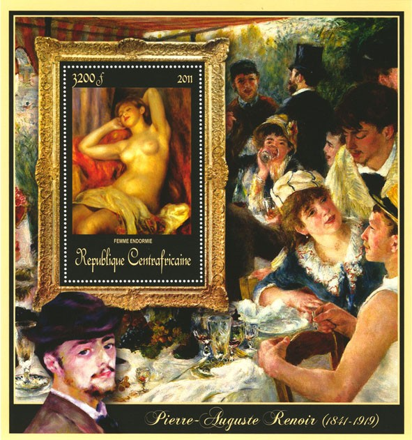 Special Block of Paintings of Pierre-Auguste Renoir,  (Femme endormie). - Issue of Central African republic postage stamps