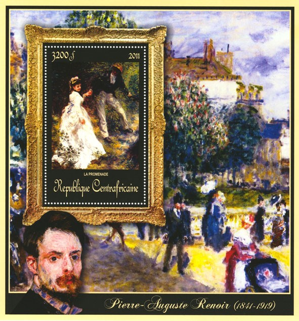 Special Block of Paintings of Pierre-Auguste Renoir,  (La promenade). - Issue of Central African republic postage stamps
