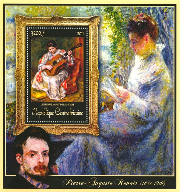 Special Block of Paintings of Pierre-Auguste Renoir, (Une femme jouant de la guitare). - Issue of Central African republic postage stamps