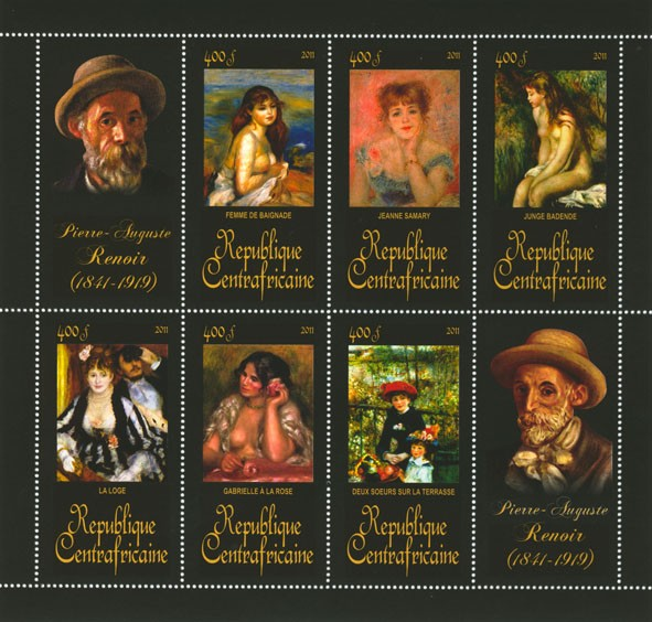 Paintings of Pierre-Auguste Renoir, (1841-1919). (Femme de baignade, Deux soeurs sur la terrasse). - Issue of Central African republic postage stamps