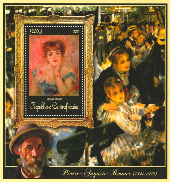 Special Block of Paintings of Pierre-Auguste Renoir,  (Jeanne Samary). - Issue of Central African republic postage stamps