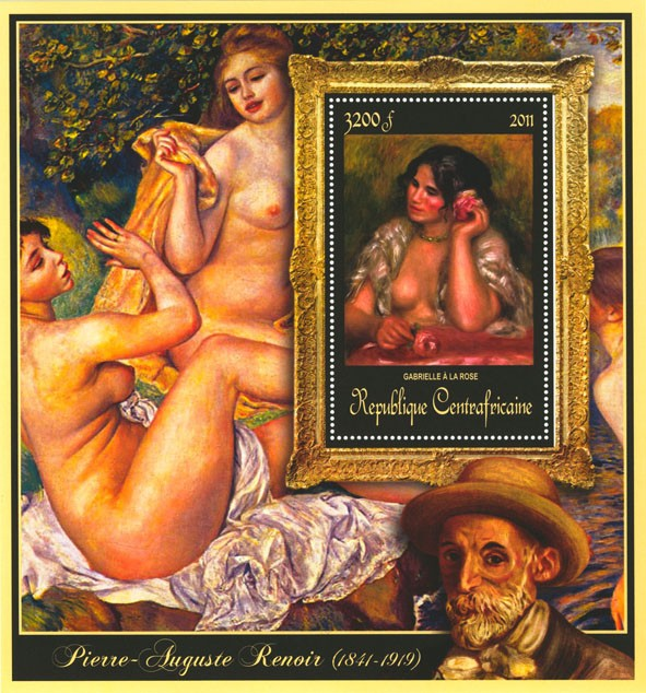 Special Block of Paintings of Pierre-Auguste Renoir,  (Gabrielle a la rose). - Issue of Central African republic postage stamps