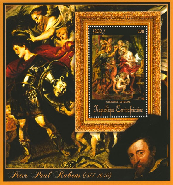 Special Block of Paintings of Peter Paul Rubens,  (Alexandre et de Roxane). - Issue of Central African republic postage stamps
