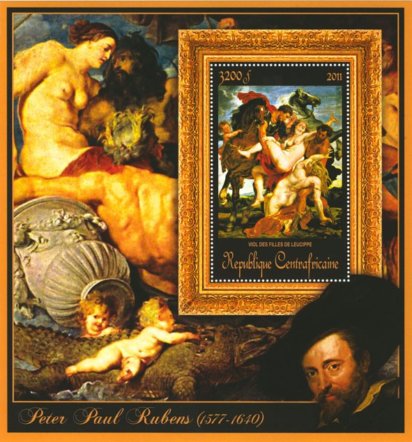 Special Block of Paintings of Peter Paul Rubens, (Viol des filles de leucippe). - Issue of Central African republic postage stamps