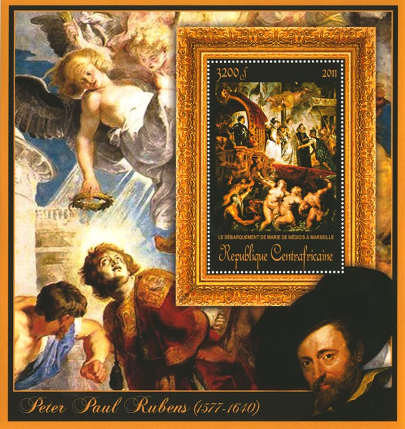 Special Block of Paintings of Peter Paul Rubens,  (Le debarquement de marie de a Marseille). - Issue of Central African republic postage stamps