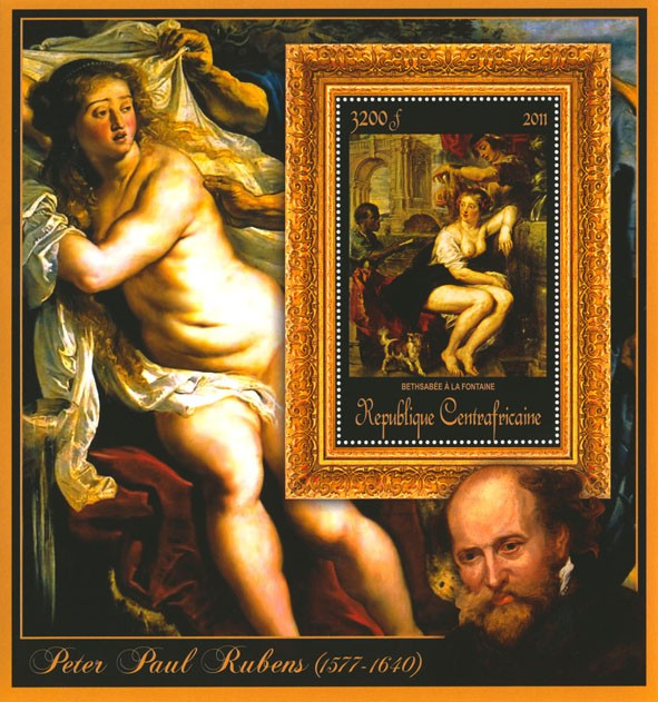 Special Block of Paintings of Peter Paul Rubens,  (Bethsabee a la fontane). - Issue of Central African republic postage stamps