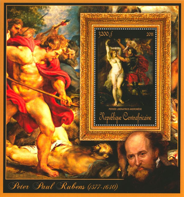 Special Block of Paintings of Peter Paul Rubens, (Persee liberatrice andromede). - Issue of Central African republic postage stamps