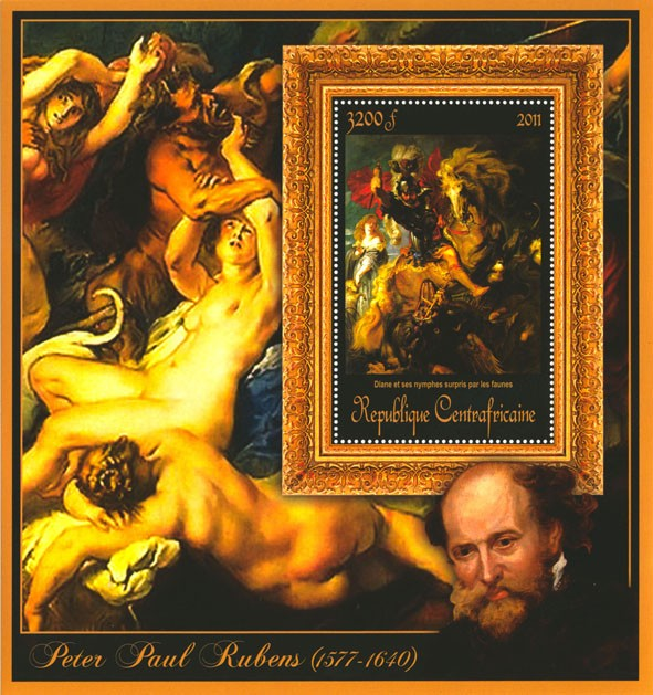 Special Block of Paintings of Peter Paul Rubens,  (Diane et ses nyphes surpris par les faunes). - Issue of Central African republic postage stamps