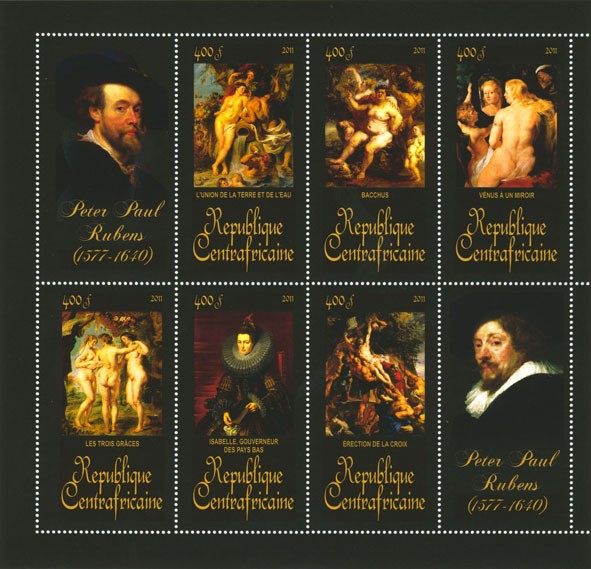 Paintings of Peter Paul Rubens, (1577-1640). (L'union de la terre et de l'eu, Erection de la croix). - Issue of Central African republic postage stamps