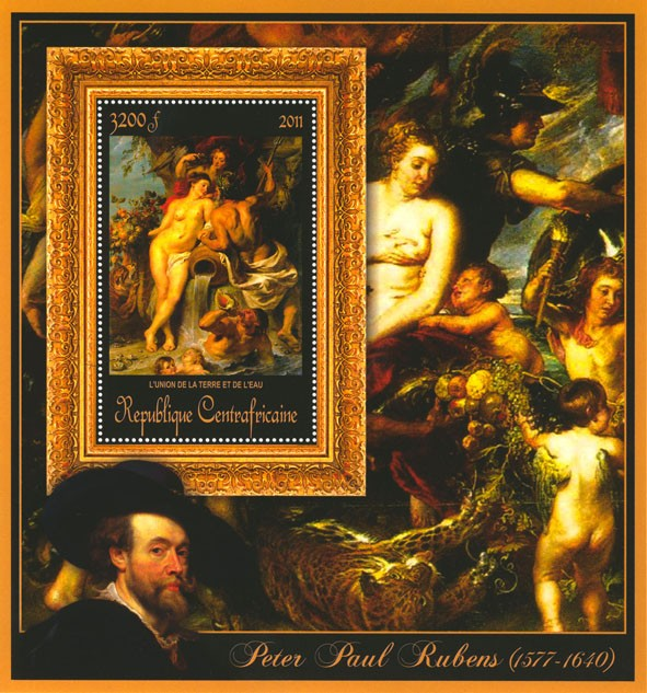Special Block of Paintings of Peter Paul Rubens,  (L'union de la terre et de l'eu). - Issue of Central African republic postage stamps