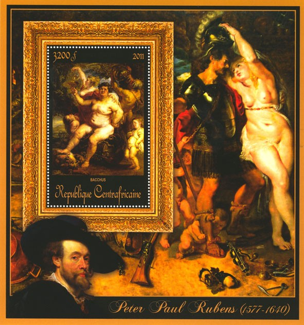 Special Block of Paintings of Peter Paul Rubens, (Bacchus). - Issue of Central African republic postage stamps