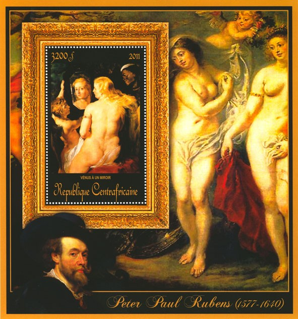 Special Block of Paintings of Peter Paul Rubens,  (Venus a un miroir). - Issue of Central African republic postage stamps