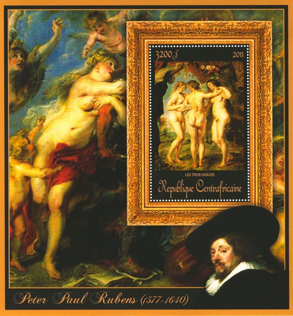 Special Block of Paintings of Peter Paul Rubens,  (Les trois graces). - Issue of Central African republic postage stamps