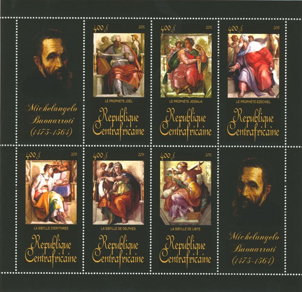 Paintings of Michelangelo, (1475-1564). (Le prophete joel, La Sibylle de Libye). - Issue of Central African republic postage stamps