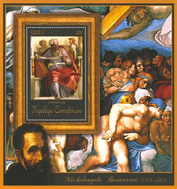 Special Block of Paintings of Michelangelo,  (Le prophete joel). - Issue of Central African republic postage stamps