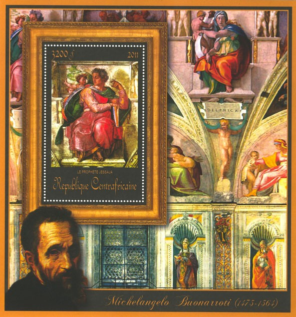 Special Block of Paintings of Michelangelo,  (Le prophete jessaja). - Issue of Central African republic postage stamps