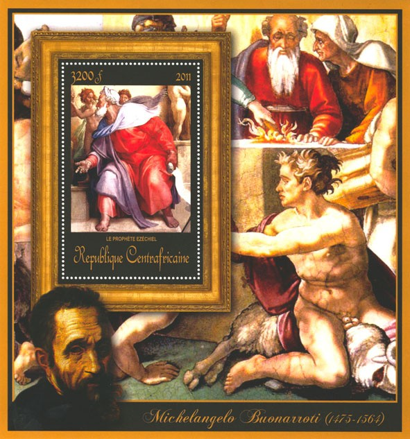 Special Block of Paintings of Michelangelo, (Le prophete Ezechiel). - Issue of Central African republic postage stamps