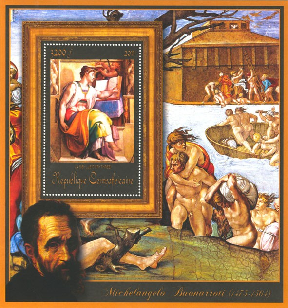 Special Block of Paintings of Michelangelo,  (La Sibylle d'Erythree). - Issue of Central African republic postage stamps