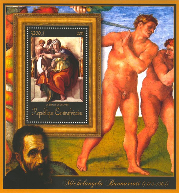 Special Block of Paintings of Michelangelo,  (La Sibylle de Delphis). - Issue of Central African republic postage stamps