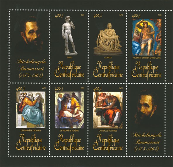 Paintings of Michelangelo (1475-1564). (David, La Sibylle de Cumes). - Issue of Central African republic postage stamps