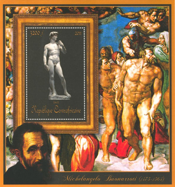 Special Block of Paintings of Michelangelo, (David). - Issue of Central African republic postage stamps