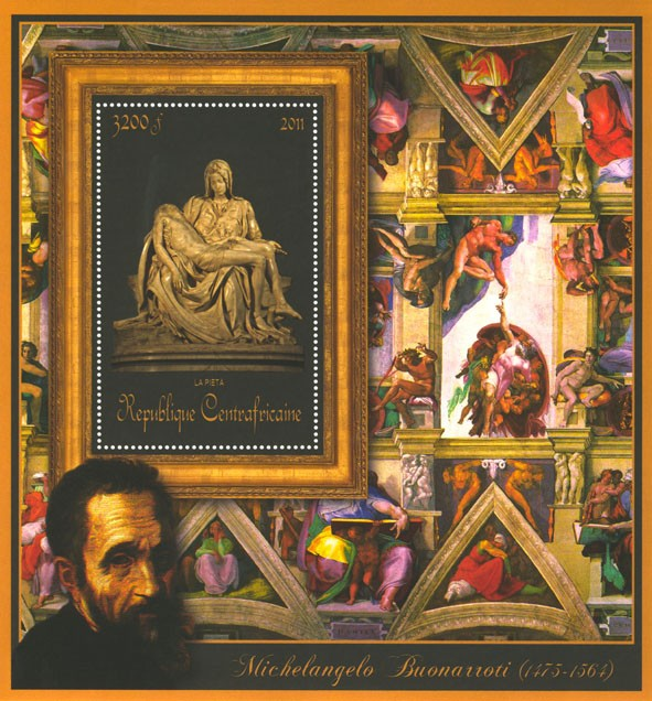 Special Block of Paintings of Michelangelo, (La Pieta). - Issue of Central African republic postage stamps