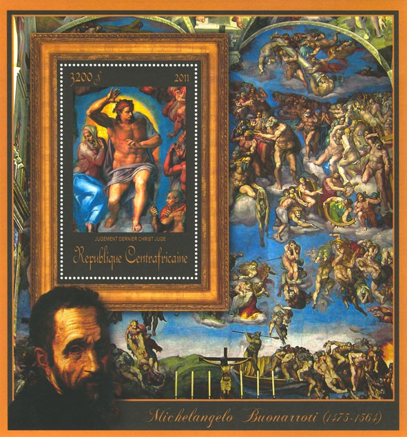 Special Block of Paintings of Michelangelo, (Jugement dernier Christ Juge). - Issue of Central African republic postage stamps
