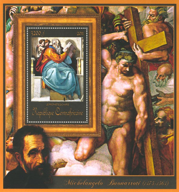 Special Block of Paintings of Michelangelo,  (La prohete Zacharie). - Issue of Central African republic postage stamps