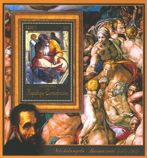 Special Block of Paintings of Michelangelo,  (La prophete Jeremie). - Issue of Central African republic postage stamps