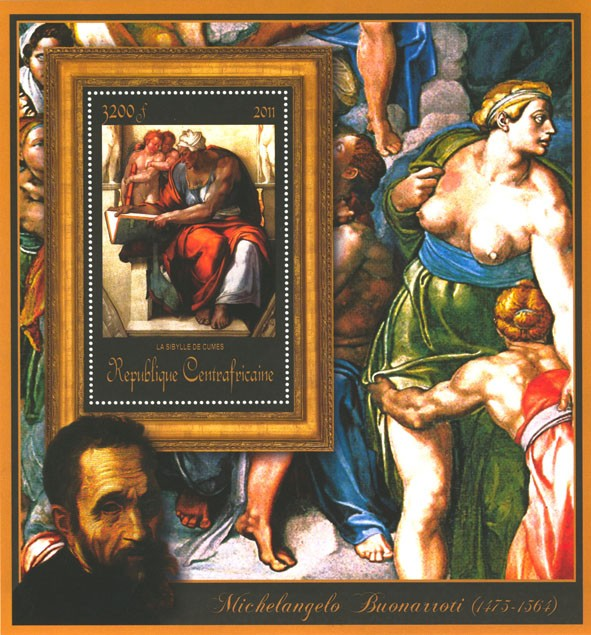 Special Block of Paintings of Michelangelo,  (La Sibylle de Cumes). - Issue of Central African republic postage stamps