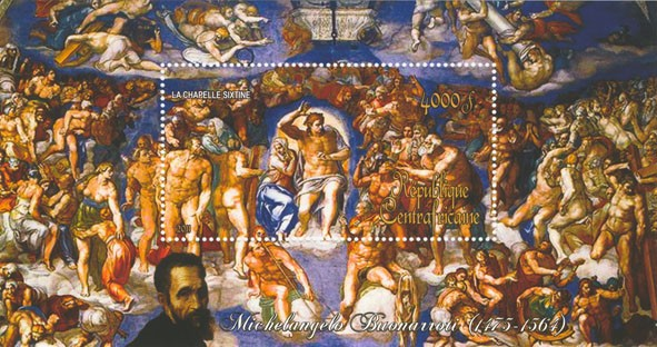 Paintings of Michelangelo, (1475-1564). (La chapelle sixtine). - Issue of Central African republic postage stamps