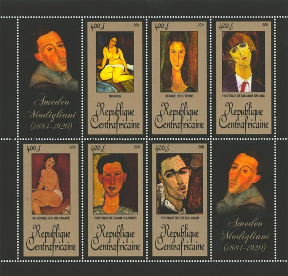 Paintings of Amadeo Modigliani, (1884-1920). (Nu Assis, Portrait de Celso Lagar). - Issue of Central African republic postage stamps