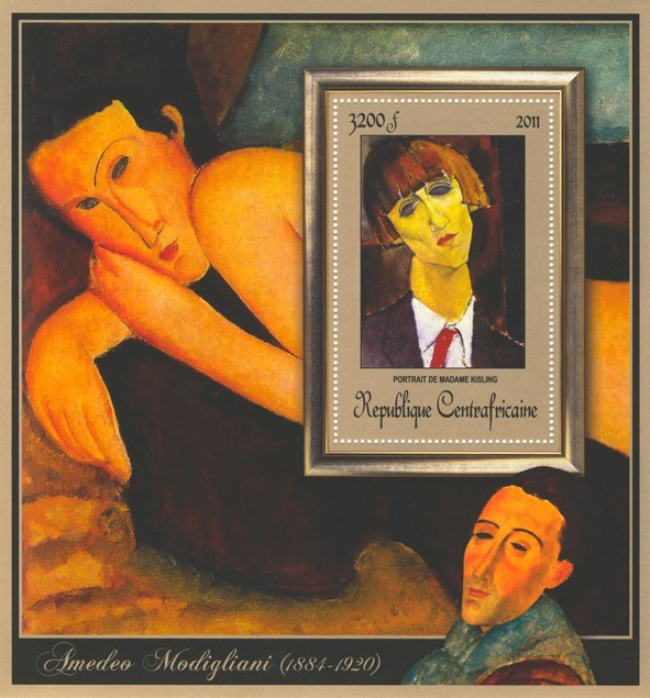 Special Block of Paintings of Amadeo Modigliani, (Portraot de Madame Kisling). - Issue of Central African republic postage stamps