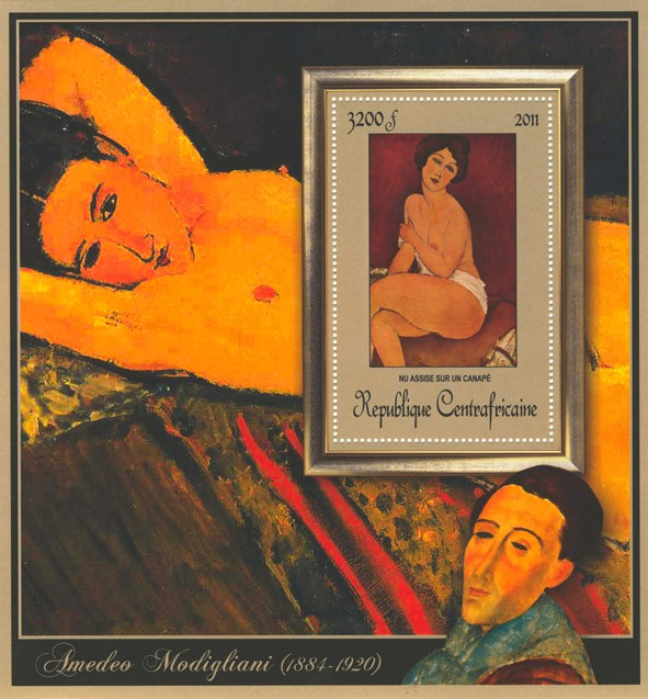 Special Block of Paintings of Amadeo Modigliani, (Nu assise sur un canape). - Issue of Central African republic postage stamps