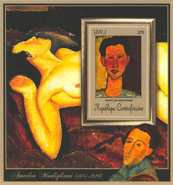 Special Block of Paintings of Amadeo Modigliani, (Portrait de Chaim Soutiner). - Issue of Central African republic postage stamps