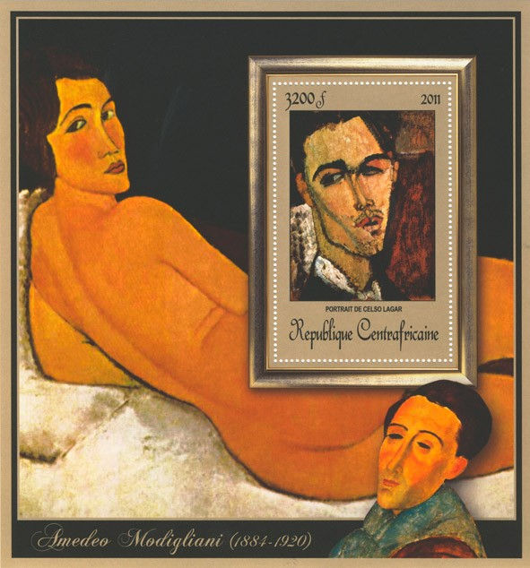Special Block of Paintings of Amadeo Modigliani, (Portrait de Celso Lagar). - Issue of Central African republic postage stamps