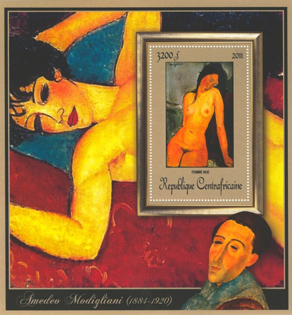 Special Block of Paintings of Amadeo Modigliani,  (Femme nue). - Issue of Central African republic postage stamps