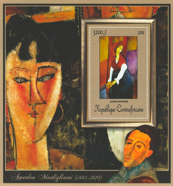Special Block of Paintings of Amadeo Modigliani,  (Jeanne Hebuterne). - Issue of Central African republic postage stamps